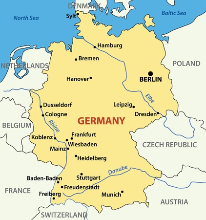 frankfurt: vector illustration -  map of Germany.
