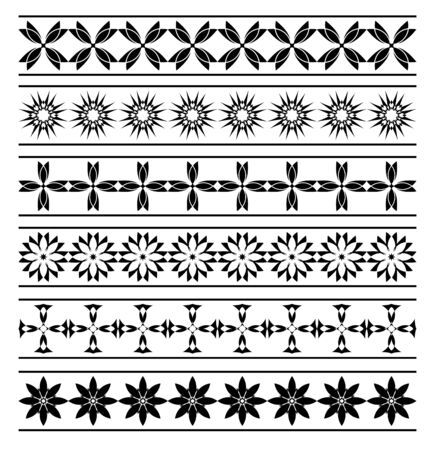 tracery: set of  black elements of borders Illustration