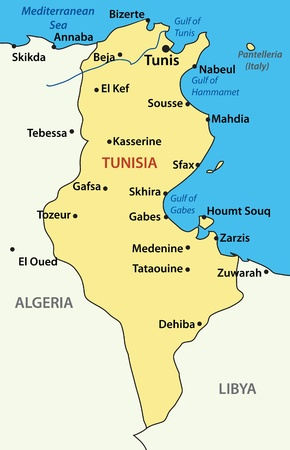 map of Tunisia. Vector
