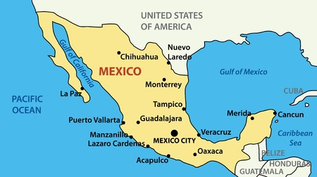 the gulf: map of United Mexican States