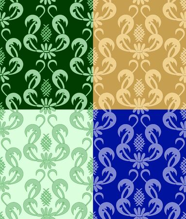 vector - set of  backgrounds with flora Vector