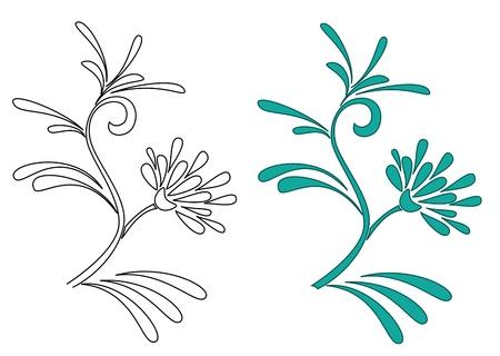 celadon green: vector illustration of decorative plants