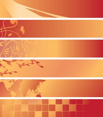 set - vector red and orange banners Vector