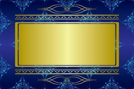 blue gold: vector dark blue card with golden decorations