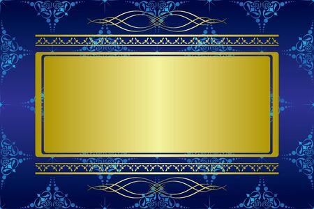 vector dark blue card with golden decorations Vector