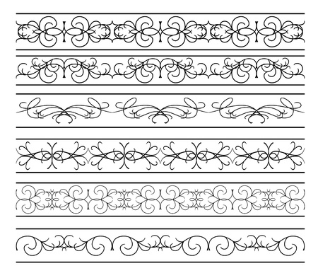 tracery: vector - set of  black wavy elements for design Illustration