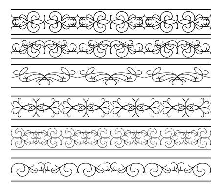 tracery: vector - set of  black wavy elements for design Illustration