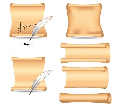papiro: Vector set - carta vecchia e piume