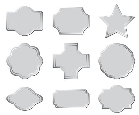silver cross: set of the gray frames  Illustration