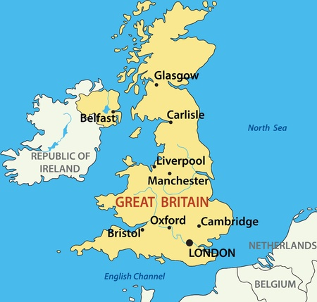 ireland cities: vector illustration - map of the United Kingdom of Great Britain and Northern Ireland. Source:  http:mappery.com