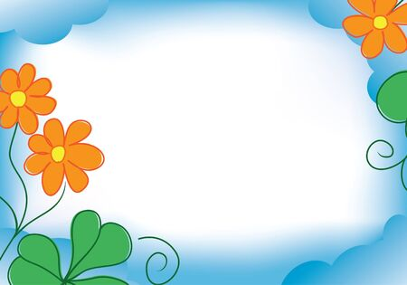 vector blue frame with orange flowers Vector