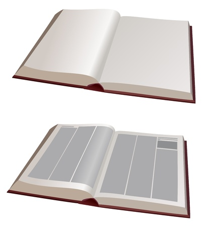 history book: vector  illustration - two big books open