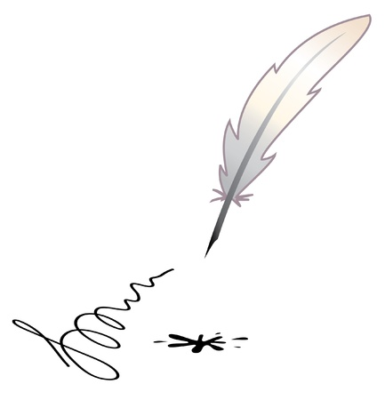 pluma de escribir antigua: Vector - una pluma y una mancha negra