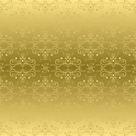 vector golden seamless pattern with flora Vector