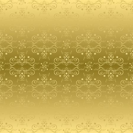 gradient: vector golden seamless pattern with flora Illustration