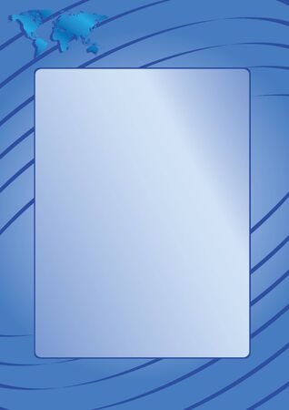 parallel world: blue frame with the map of the world and parallel lines Illustration