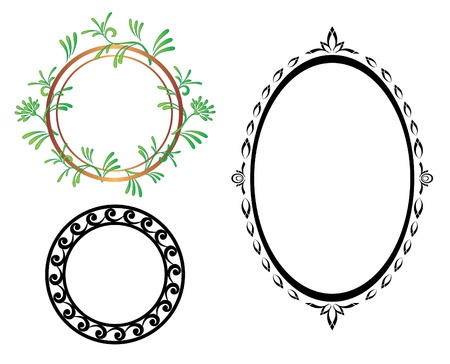 framing: set - vector oval and round frames
