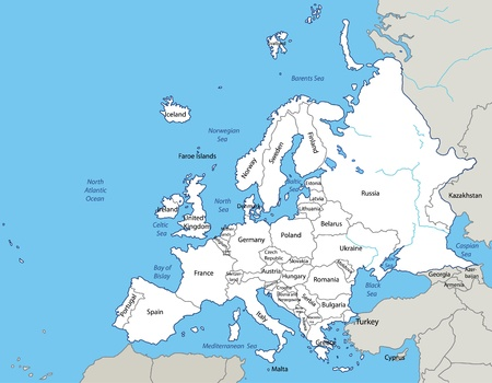netherlands map: illustration - map of the Europe. Source:  http:en.wikipedia.orgwikiEurope Illustration