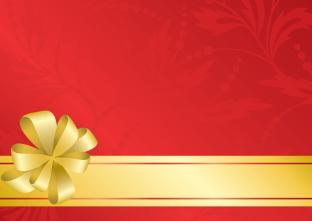 incarnadine: red card with golden bow and ribbon