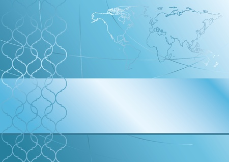 abstract blue background with map of the world