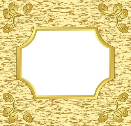 golden border: light decorative card with golden frame