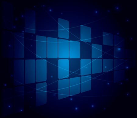 vector abstract blue background with squares and perspective