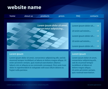 vector  dark blue template of website with abstract background  (layered) - eps 10 Vector