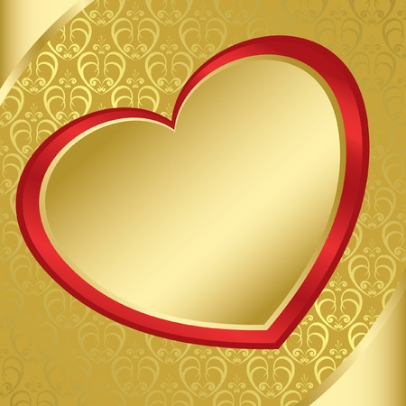 red and yellow card: heart on the golden pattern Illustration