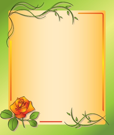leaves border: floral frame with rose - vector Illustration