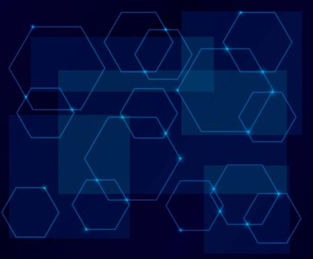 hexahedron: dark blue background with geometric shapes - eps 10