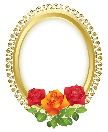 golden frames: oval golden frame with roses - vector