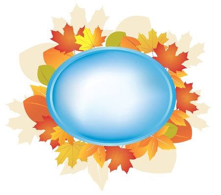 blue oval frame with autumn leaves - vector Stock Vector - 10407545
