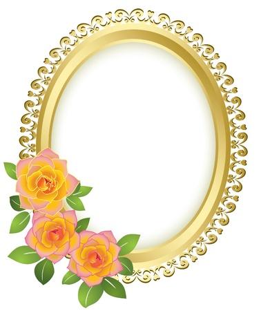 gele rozen: gouden ovaal frame met bloemen - vector Stock Illustratie