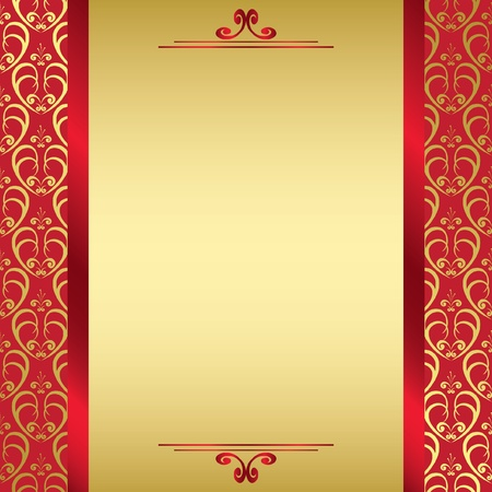 label frame: red golden card with red ribbons - vector