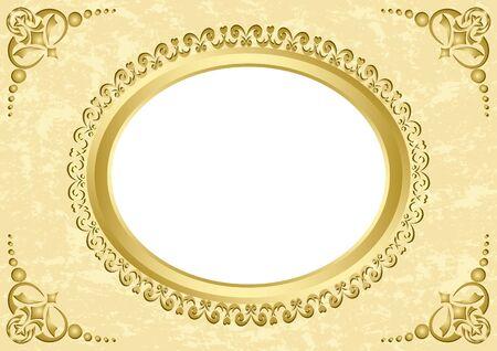 elegant border: vector oval frame on beige grunge background  Illustration