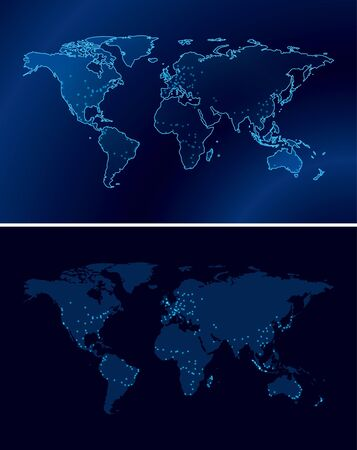 dark blue maps of the world with light of the cities - eps 10  Vector