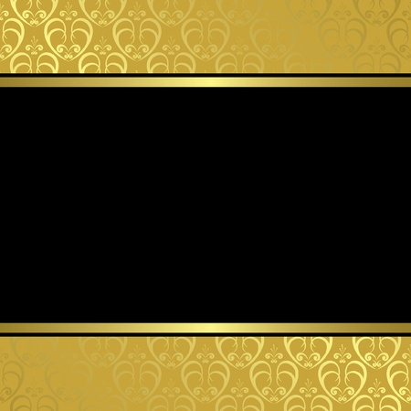 golden border: black center on golden background - vector
