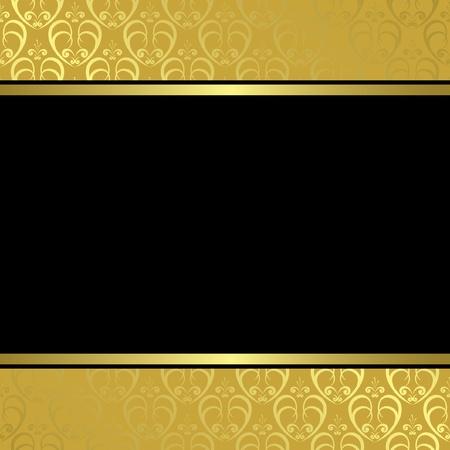 zwart hart op gouden achtergrond - vector Vector Illustratie
