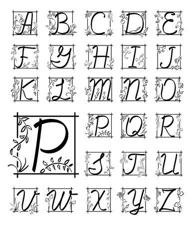 English floral alphabet - black letters in frame