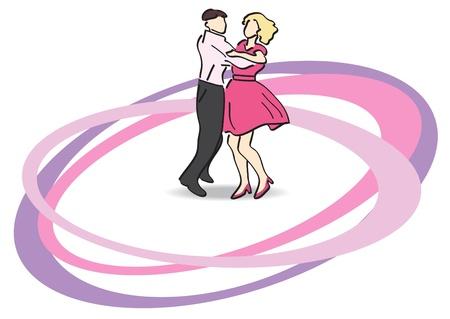 dancefloor: Illustration - dancers on the dancefloor