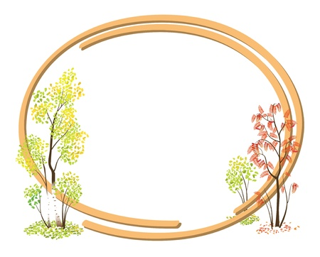 autumn frame with bright trees. Illustration