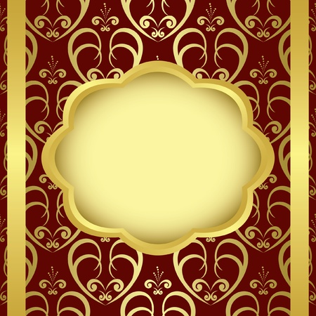 frame with ribbons and golden center - eps Vector