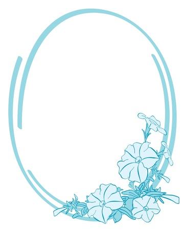 ベクトルの青い楕円形フレームの花を持つ  イラスト・ベクター素材