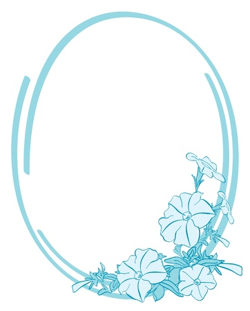 petunia: vector blue oval frame with flowers