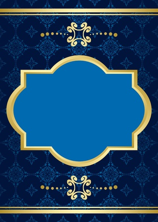 blue gold: vector card with blue pattern