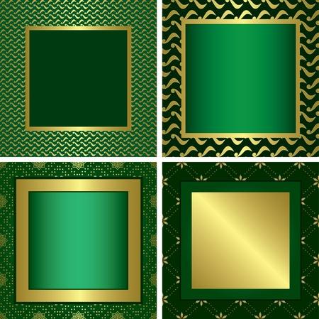 yellow photo: green golden decorative frames - vector