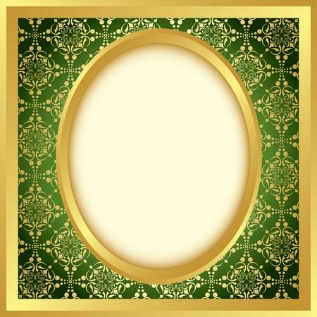 ovals: golden frame with bright pattern - vector Illustration