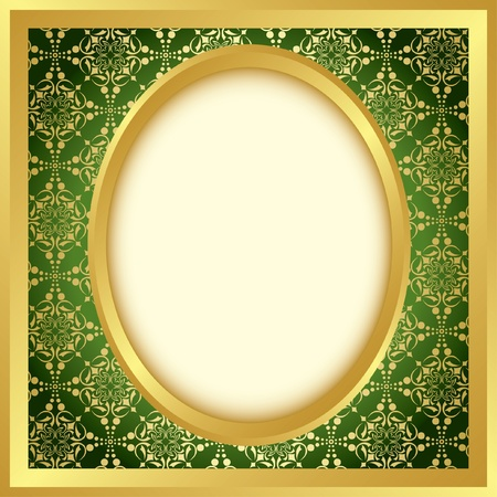 an oval: marco dorado con patrón brillante - vector