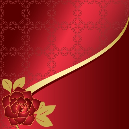 red vector card with rose  Vector