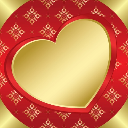 vector romantic frame with heart and tracery Vector